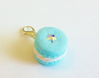 Handmade Blue Macaron Charm - Polymer Clay Food Macaroon Charm - Miniature Food Jewelry Macaron - Christmas Macaron - Christmas Food Jewelry