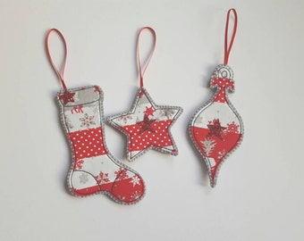 SALE, Handmade Christmas decorations , christmas tree decorations, set of 3 decorations