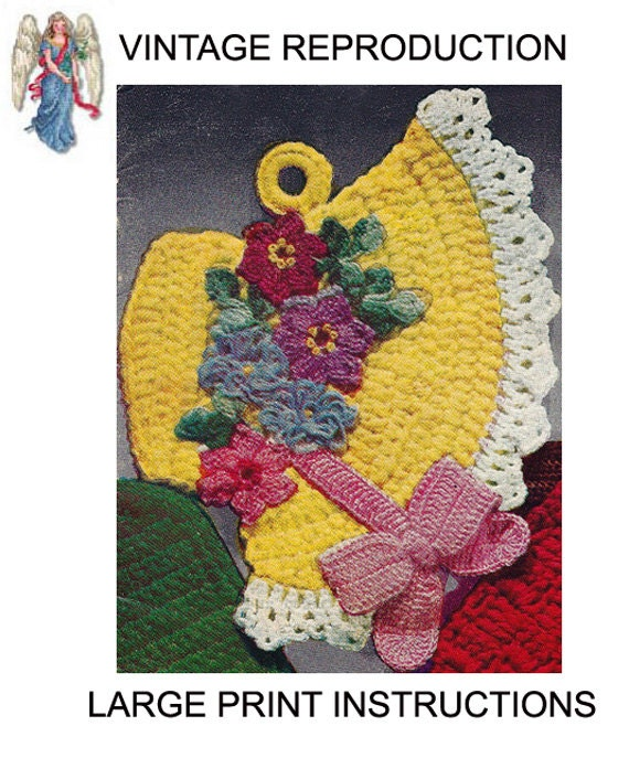 Easter Pot Holders Crochet: Pdf Fancy Easter Bonnet Pot Holder Hot Pad Vintage Crochet