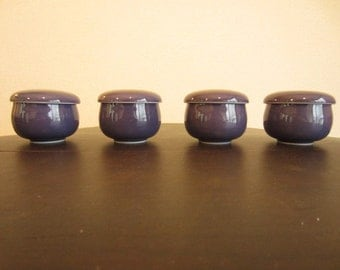 Set of 4 Japanese Porcelain Purple 'Chawan-mushi' Pot from the 1970s