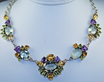 Green Amethyst with Peridot, Citrine and Amethyst set in Solid 925 Sterling Silver Necklace