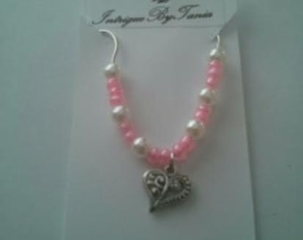 Heart necklace with bead accents
