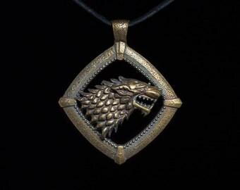House Stark Direwolf Pendant, Game of Thrones, brass, handmade ..... House Stark Pendant, Game of Thrones Pendant