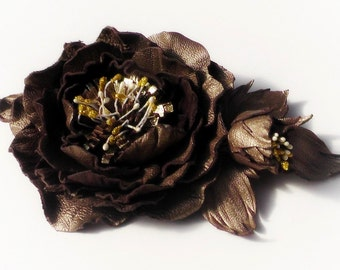 Brooch leather Peony flower brooch Natural leather brooch Organic product