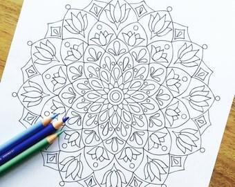 "Mandala ""Origin"" Hand Drawn Adult Coloring Page"