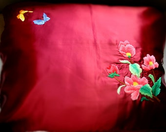 Vintage pillow case cover Red and Blue satin with Elegant and Embroidered flowers
