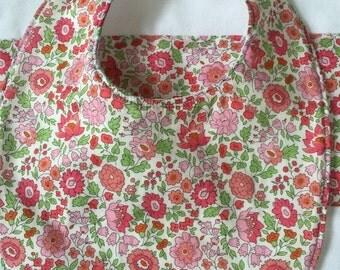 Liberty *Pink Flowers: Bib and burp cloth set