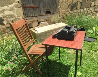 Industrial metal with wood drop leaf typing typewriter table - Items Similar To Mid Century Metal Typewriter Desk With