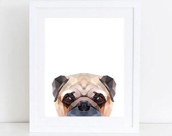 Pug Art Print, Printable Home Decor, Digital Art Print, Pug art Print, Pug Dog Decor, Dog wall Art Instant Download