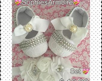 Baptism *Baptism Shoes*Baptism Shoes Set*Shoes and Headband set*Christening Shoes*
