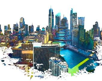 Chicago Buildings, Illinois Skyline, Urban Grunge, USA Skyline, Urban Silhouette, Cityscape, Art Print, Poster, Modern Art, Painting