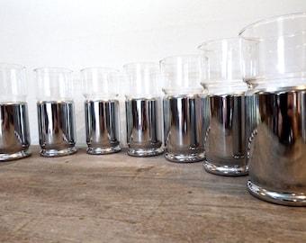 Set of 8 50s Chrome Bar Glasses Mid Century Vintage Barware