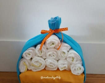 Gender Neutral Stork Bundle Baby Shower Gift Baby Shower Centre Piece Gender Neutral Baby Shower Diaper Cake