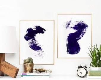 "Minimalist Set of 2 Prints, Abstract Watercolor Art Print, Printable Art Set, Brush Strokes Wall Art, 11""x14""x2pcs. Navy Blue."