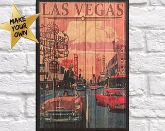 Las Vegas Travel Poster Vintage Las Vegas Travel decor Las Vegas Travel art print Wood wall decor Travel gift for Men panel effect Wood art