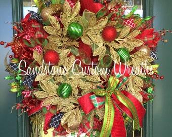 Christmas Wreath, Deco mesh Wreath, Gold Wreath, Leaf Wreath, Holiday Wreath, Wreath
