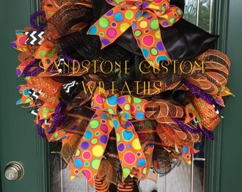 Halloween Fall Witch Deco Mesh Wreath