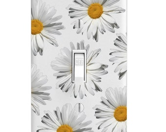 Light Switch Cover - White Daisy