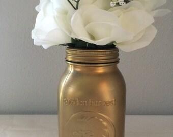 Gold Mason Jar Vase