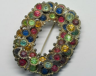Antique Multi-colored Rhinestone Oval Brooch