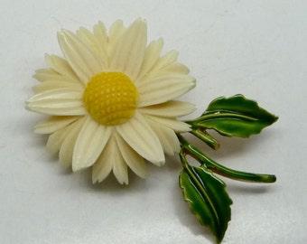 Delicate Vintage Resin Flower Brooch--Feels hand-carved