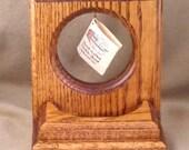 Handmade pocket watch stand, medium stained oak watch stand with accessry well, pocket watch display stand in oak, best man gift