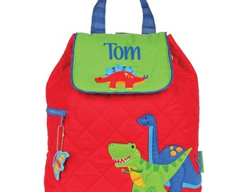 Personalised Quilted Backpack - Red Dinosuar