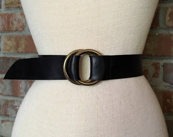 Cinch Wide Leather Belt, Double Ring Black Leather Belt - Eternity Collection