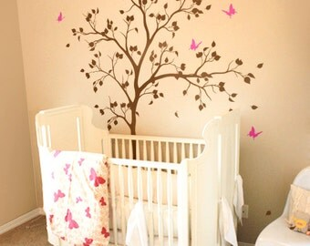 Spring inspired butterfly nursery tree wall decals, baby room wall decorations, unisex white tree decals, nursery wall tattoos KW029