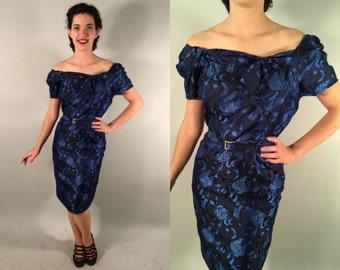 Vintage 1950s Dress | 50s Blue Brocade Wiggle Dress | Medium