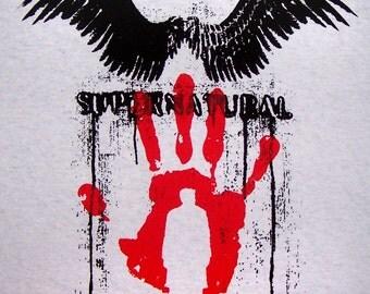 Supernatural Castiel t-shirt screenprint SPN Perdition angel wings