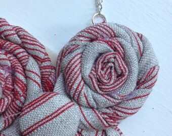 Grey & Red Rosette Necklace