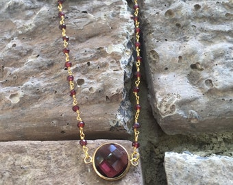 Maroon Gemstone Necklace | Maroon Chalcedony Gold Wire Wrapped Necklace