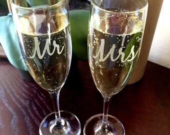 Mr Mrs Champagne Flutes, His Her Champagne Glasses,