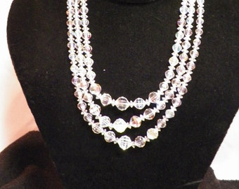 Cut Glass Triple Strand Beaded Necklace