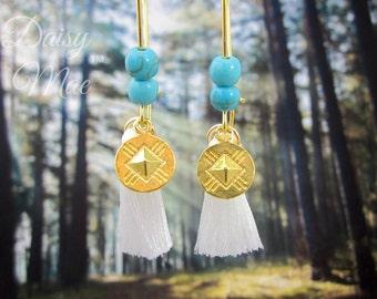 Boho Tassel Howlite Earrings | Bohemian Jewelry | Turquoise Howlite Gemstone | Shoulder Duster Earrings