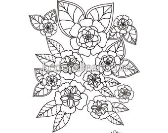 instant digital download - adult coloring page - simple flowers