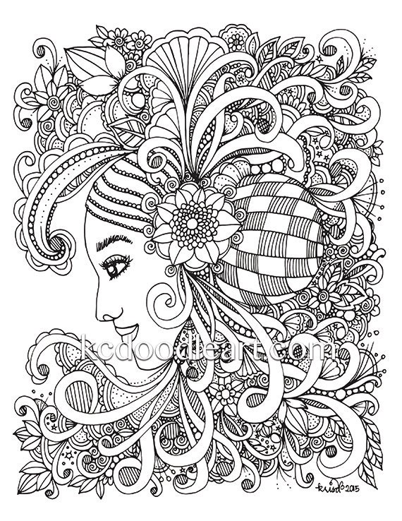 Instant Digital Download Adult Coloring Page Woman Flower