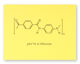 Lifesaver Nerd Thank You Card - Chemistry science geek card - Bullet Proof Vest Chemical