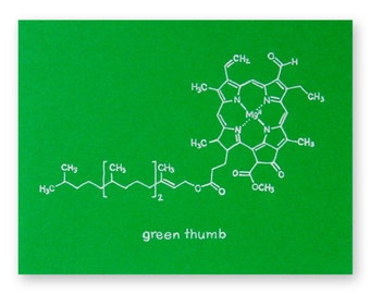 Gardening Nerd Chemistry Greeting Card for the Botanist, Greenhouse Junkie, or Plant Scientist - Green Thumb