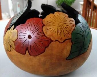 Carved gourd, floral gourd art bowl