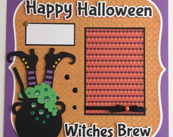 "Premade 12x12 ""Halloween"" Scrapbook Page Layouts, Witches Brew"
