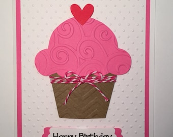 Handmade Happy Birthday Card, Cupcake, Birthday