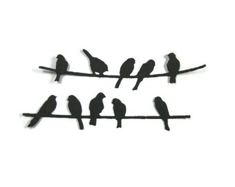 Birds on a Telephone Wire Die Cut set of 24