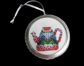 Cross Stitch Tea Pot Ornament