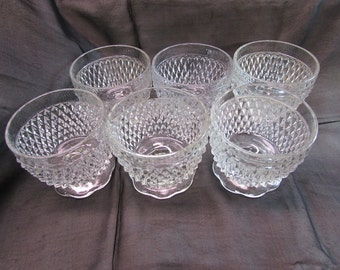 Vintage Indiana Glass Diamond Point Bowls, Set of 6