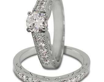 Diamond Bridal Set In 14k White Gold Featuring Engraving Decoration And Milgrain
