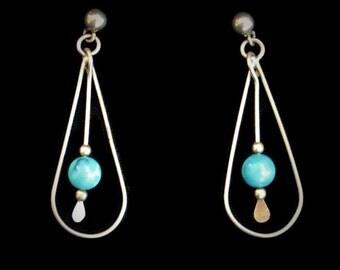 1970's Boho Turquoise Bead Earrings In Silver Tone