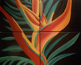 "Bird of Paradise - 32"" x 40"" (80 x 100 cm) - Oil on 4 stretched Canvas (deep edges)"