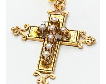 Cross single old Mineralife pink gold and pearls fine